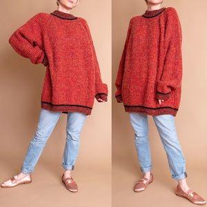 Vintage 80s orange chunky knit oversize sweater